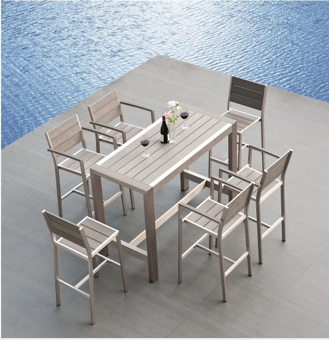 aluminum restaurant patio furniture. mangohome - outdoor patio furniture new aluminum polywood resin dining bar table restaurant h