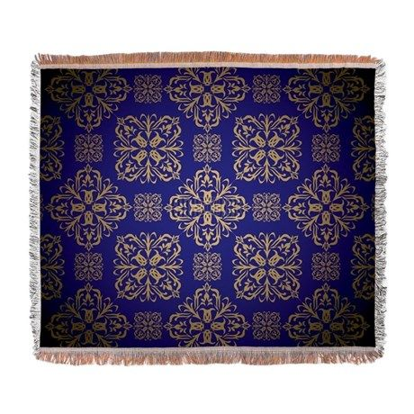 Blue and gold royal wallpaper with Woven Blanket on CafePress.com
