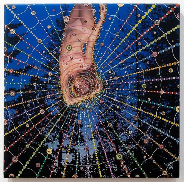 Fred Tomaselli, Halo of Flies, 2006, Mixed media, acrylic and resin on wood panel, 18 x 18 inches © Fred Tomaselli – James Cohan Gallery