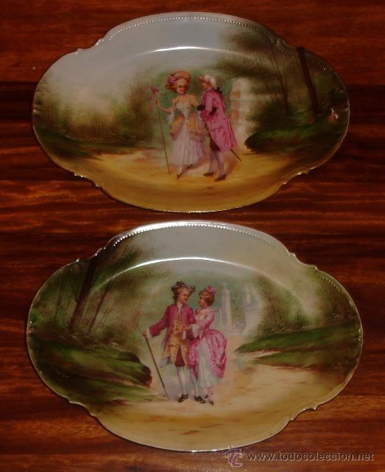 pareja de grandes platos antiguos de porcelana limoges 41 cms !!!! - Foto 1