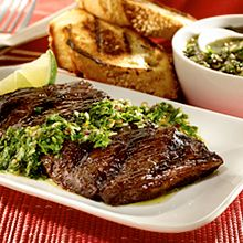 "In Argentina, ""asados,"" or grilled meats, are often enjoyed with a fresh tasting, flavor-packed sauce called chimichurri. It's a classic for good reason!  Double click the image for recipe!"