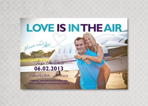 Save the Date Magnet Card Postcard Airplane  Love by PinchOfSpice, $15.00