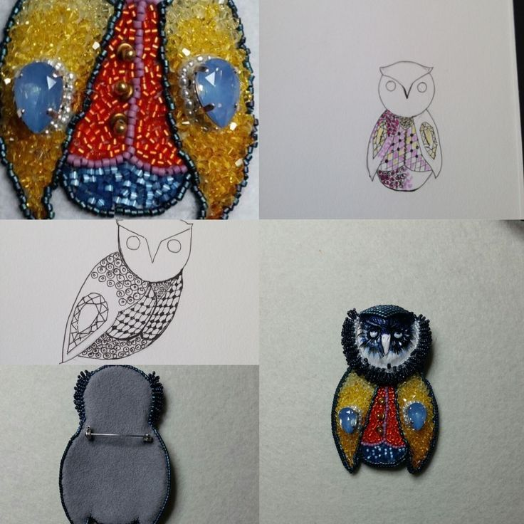 Brooche little OWL , blue swarovsky , glass beads and  OWL face handmade ceramique