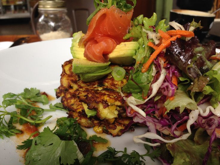 New Dish : Zucchini Corn Fritters with Salmon and Avocado