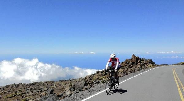 Way to go: Bike rider conquers cancer and Maui's Haleakala with tough uphill ride.