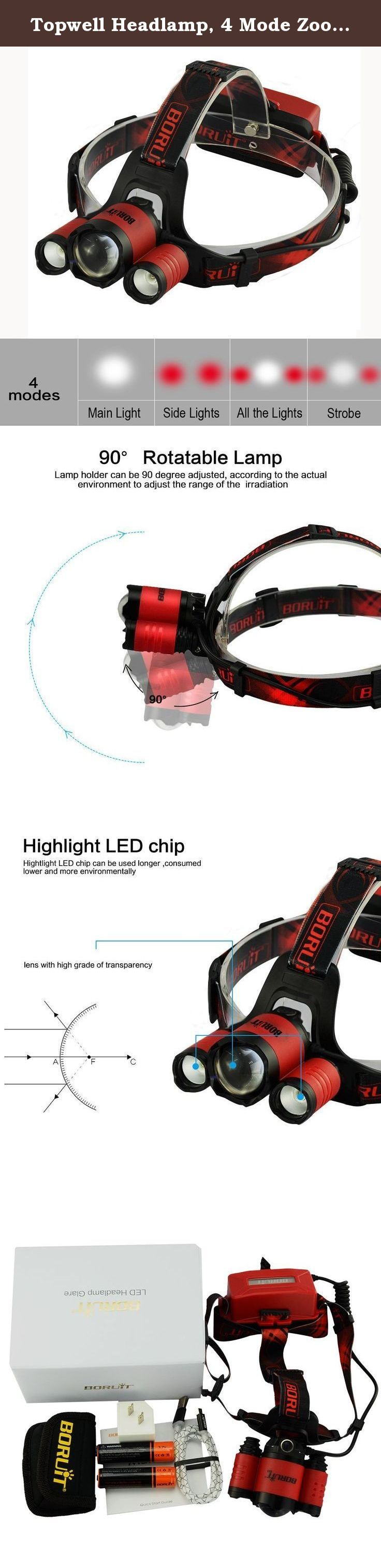 Topwell Headlamp, 4 Mode Zoomable CREE XM-L2+2 XPE(Red) HandsFree LED Headlight, 2x18650 Rechargeable Batteries with Package+USB Cable+Wall Charger for Camping Riding Fishing Hunting (Red Light). More Features: ♦ Perfect for outdoor activities like running, hiking, hunting, camping, fishing, etc or indoor working. ♦ Sides Red LED -- vital for getting the best eyesight when you are without losing your 'night vision'. ♦ This ultra bright headlight has 4 light switch modes: CREE-XML-L2 (Main...