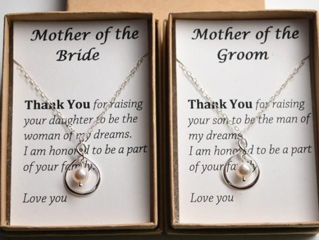 Set of 2 Mother of the bride and groom gift cards necklace-Sterling silver infinity pearl necklaces-Mother's jewelry, mother in law necklace Women, Men and Kids Outfit Ideas on our website at 7ootd.com #ootd #7ootd