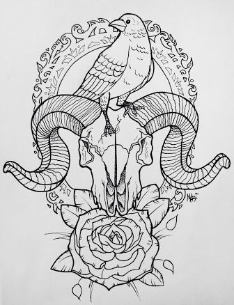 Bird, skull and flowers
