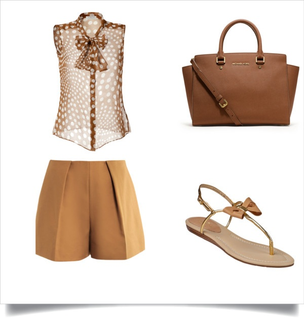 """""""Chic Nude Shorts Look"""" by ms-sherlonda on Polyvore"""