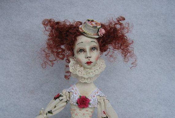 Benita Art doll OOAK doll Paper clay doll Handmade by JuraD, $215.00