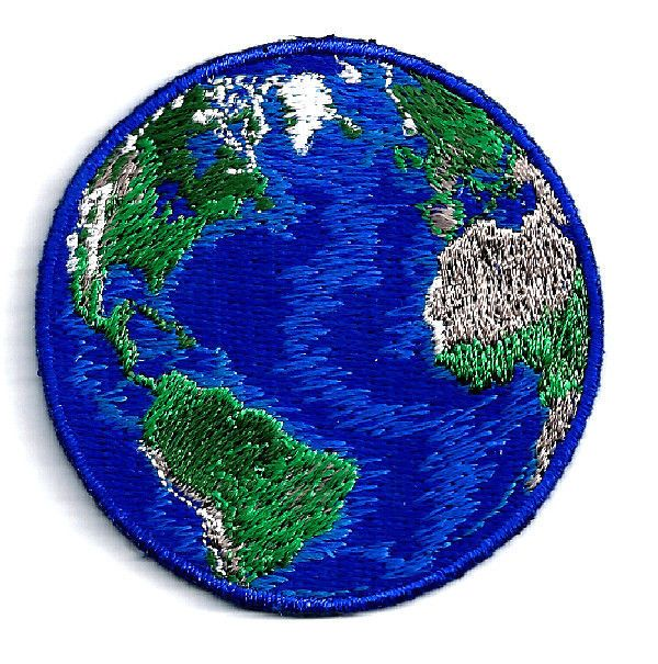 "HAPPY EARTH DAY - EARTH - WORLD PLANET FULLY EMBROIDERED IRON ON PATCH (B) - 2 1/4"" (5.7cm) #Earth #Planet #earthday"