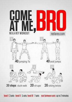 Lots of funny workout routine titles including Jedi, Hulk, You Had me at Bacon workout, but Come at me bro is my fave, lol