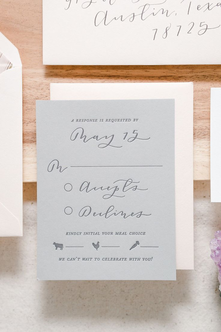 Custom blush and grey, romantic and modern Texas inspired wedding invitation suite / calligraphy and hand lettering, gold foil and letterpress by Paper & Honey®️️️️ / www.paperandhoney.com / heirloom quality wedding stationery suites serving Detroit, Ann Arbor, Grand Rapids Michigan and worldwide (photo by Andrea Pesce Photography)