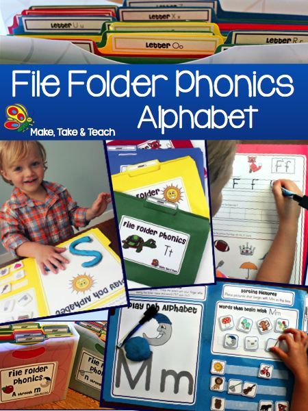 File Folder Phonics for learning the alphabet. Fun hands-on activities for learning letters and sounds.