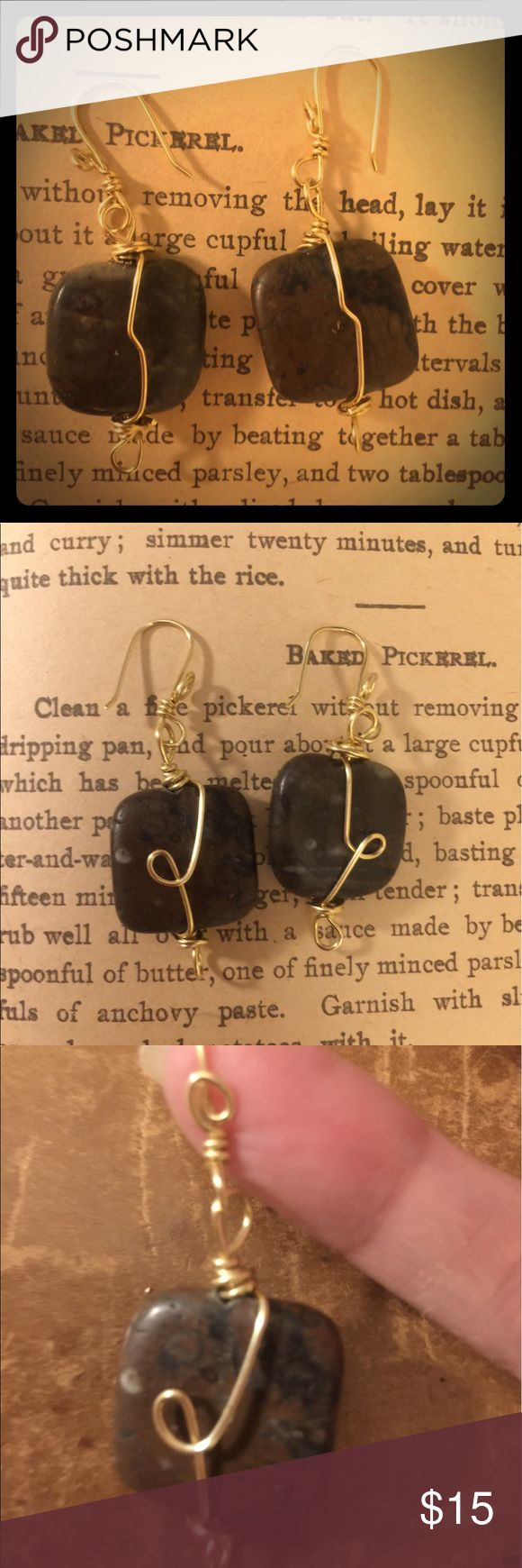 Moroccan Fossil Earrings Moroccan fossil stones. Brass wires used. Brand new. Never used. Jewelry Earrings