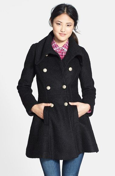 Free shipping and returns on GUESS Double Breasted Bouclé Coat (Regular & Petite) at Nordstrom.com. A plush bouclé coat exudes dashing military style in a swingy fit-and-flare silhouette topped with an oversized envelope collar and accented with antiqued regimental buttons.