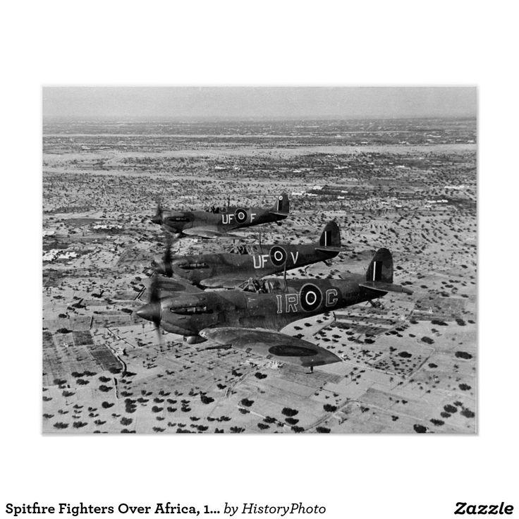 Spitfire Fighters Over Africa, 1943. Vintage Photo Poster