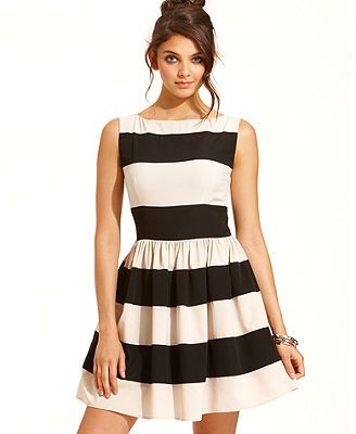 B Darlin Juniors Dress, Sleeveless Striped A-Line