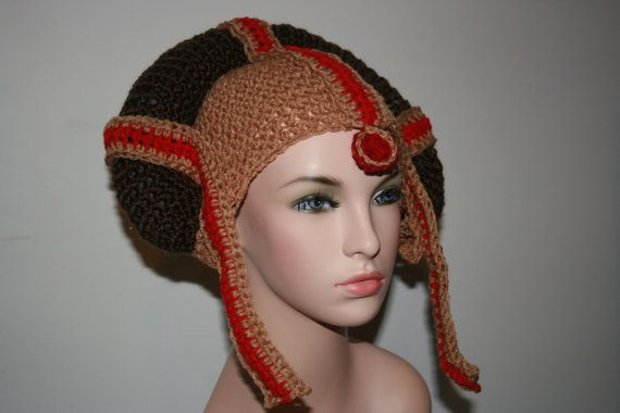 Star Wars Princess 'Inspired' Crochet Hat. Padme. All sizes available. Unique! Party! Halloween! Costume Earflap Hat. Gold, Red And Brown.