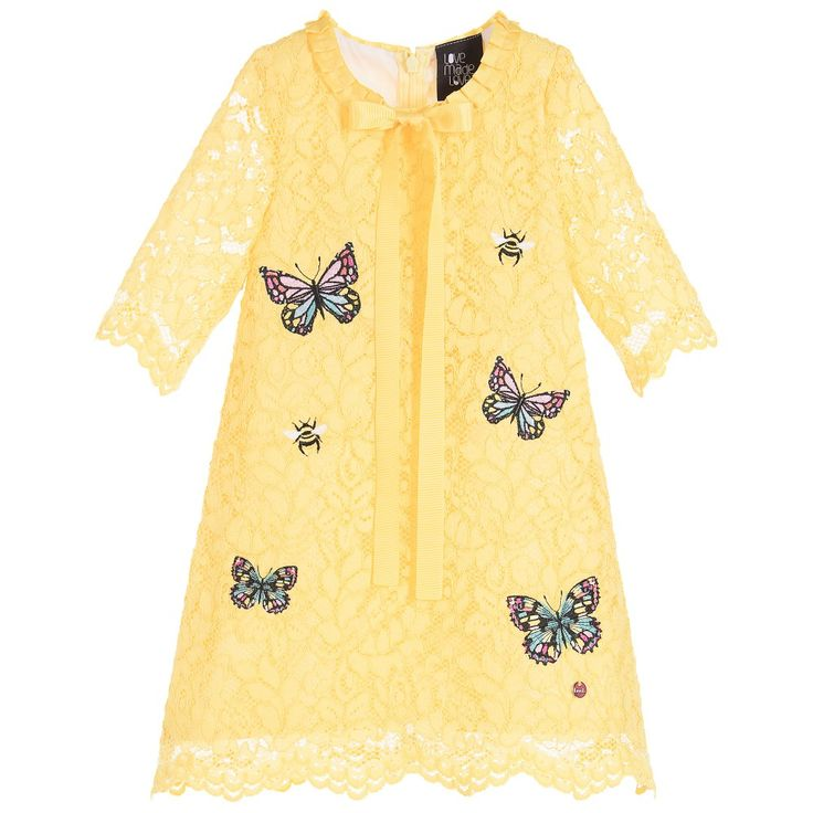 Love Made Love - Girls Yellow Lace Butterfly Dress |