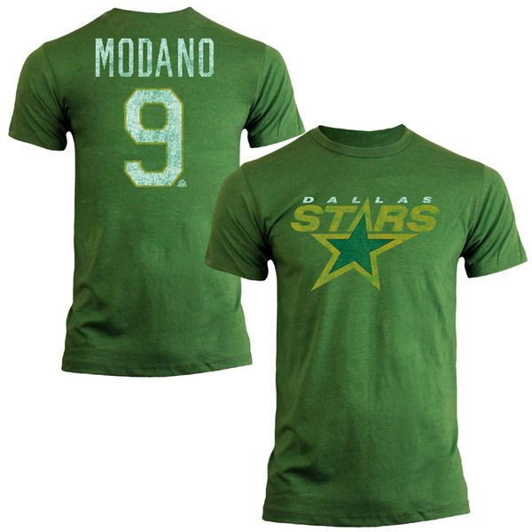 Mens Dallas Stars Mike Modano Old Time Hockey Kelly Green Name & Number Heathered T-Shirt