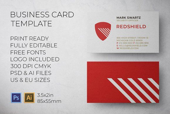 Red Shield Security Business Card Business Cards Cards Business
