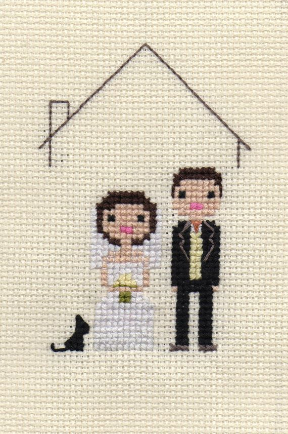 Custom Cross Stitch Pixel Wedding Portrait (Framed). $40.00, via Etsy.