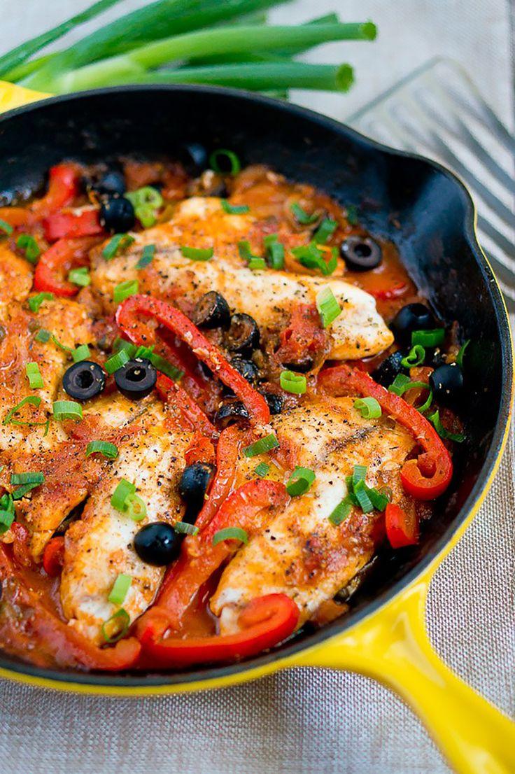 15. One Skillet Tilapia Veracruz #paleo #dinner #recipes http://greatist.com/eat/paleo-recipes-easy-and-delicious-dinners
