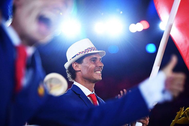 Rafa leads the way for Spain:   Spain's flag bearer Rafael Nadal leads the delegation during the opening ceremony of the Rio 2016 Olympic Games at the Maracana stadium in Rio de Janeiro on Aug. 5, 2016