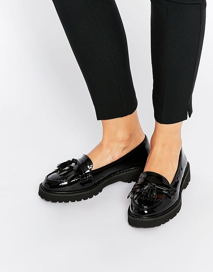 Image 1 of River Island Black Patent Chunky Tassel Loafer Flat Shoes