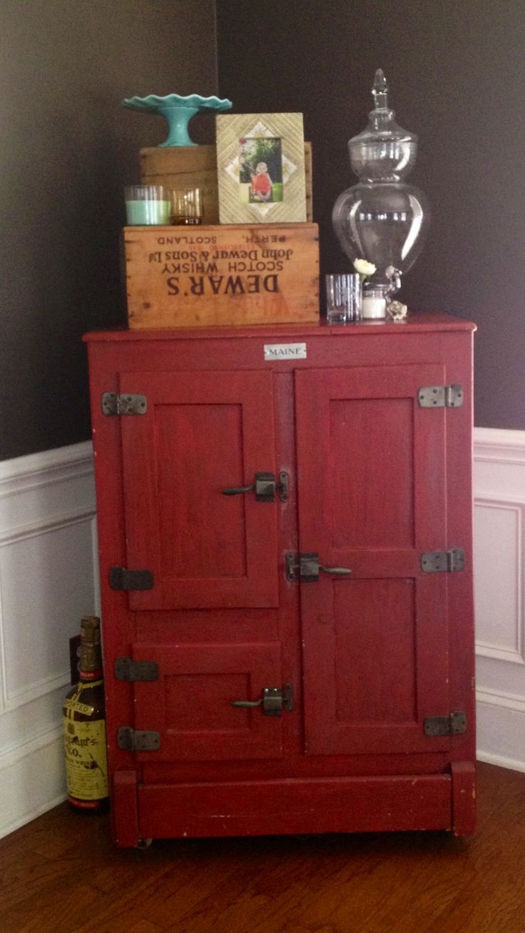 Old ice box turned liquor cabinet, I have one of these in the basement,