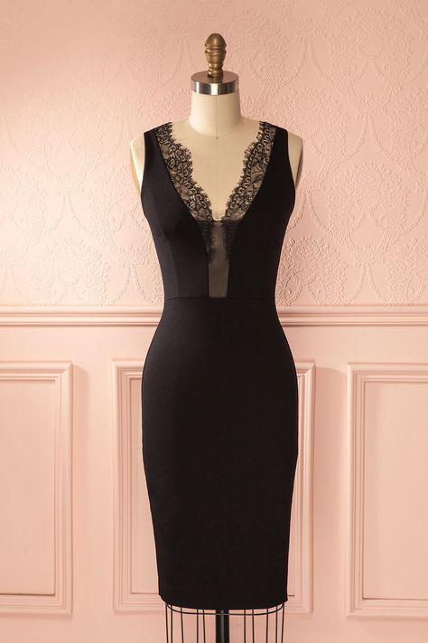 Robe ajustée noire décolleté plongeant bordure dentelle - Black fitted lace trim low cut dress