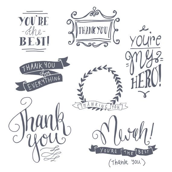 Thank You Clipart Set Thankyou Digital Clip Art Photo Etsy Clip Art Photoshop Overlays Photo Overlays