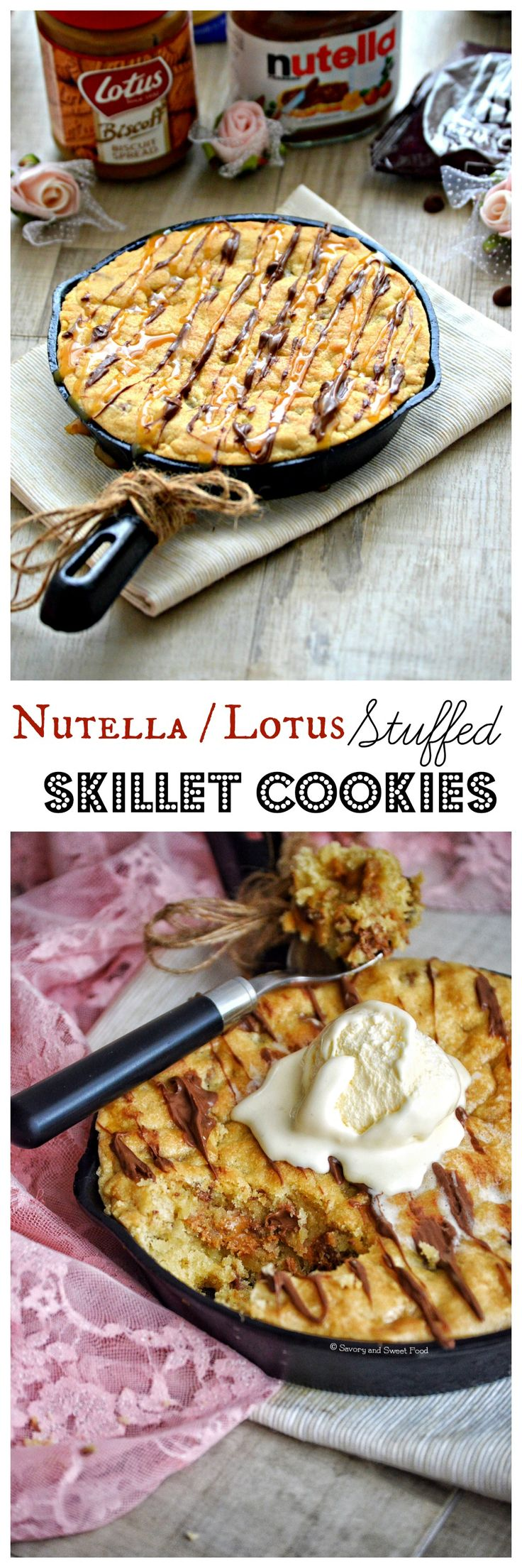 A gooey skillet cookie filled with Nutella or Lotus Biscoff spread, loaded with chocolate bits. It can be served with a scoop or two of your favourite ice cream and then drizzled with chocolate and caramel sauce. It can't get better than this.