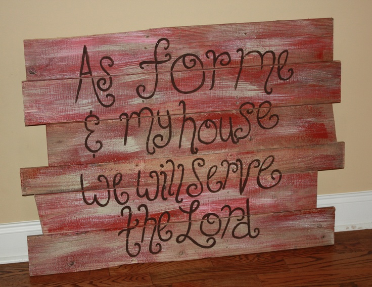 Painted pallet wood cut with a Bible verse to hang on the wall