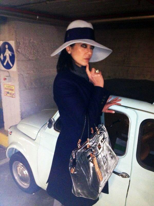 Ana Laura Ribas with V73 Velvet Bag Gris. Shop now on http://www.v73.us/luxury-velvet/130-velvet-bag-dk-gris #V73 #velvet #luxury #bag