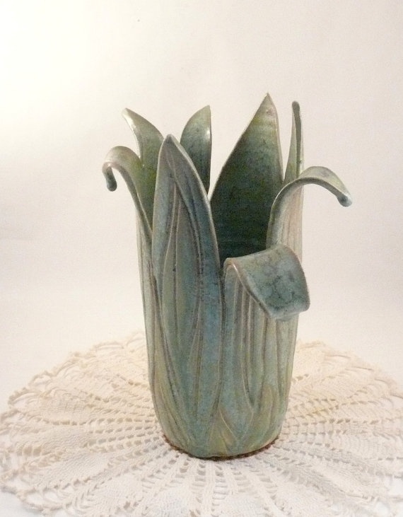 Sprout Emerald Green ceramic art vase No13 / by BlueSkyPotteryCO,