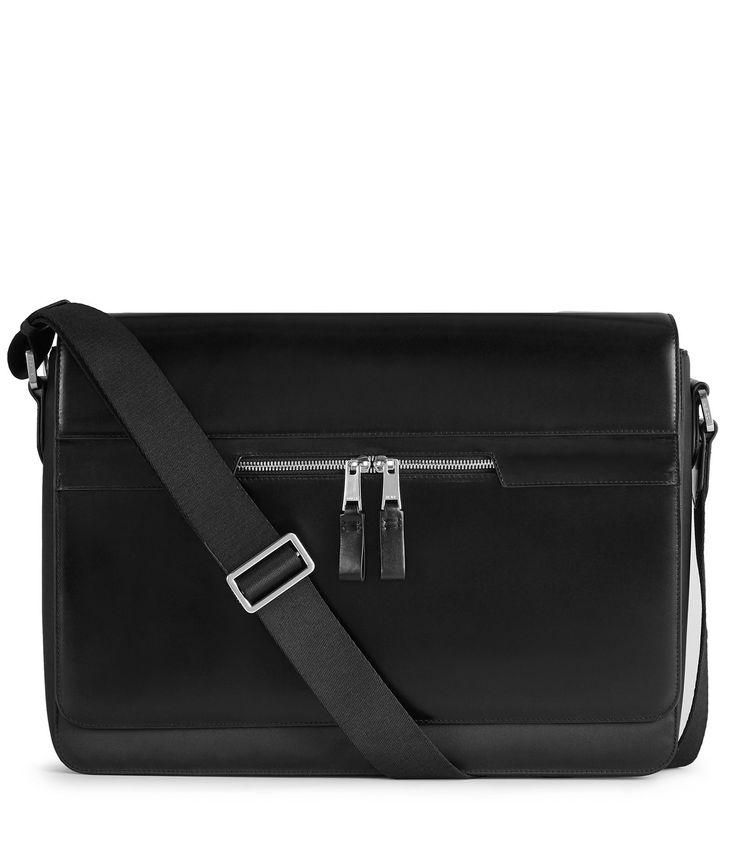 REISS MARSHALL MESSENGER BAG BLACK. #reiss #bags #polyester #leather #lining #metallic #shoulder bags #nylon #