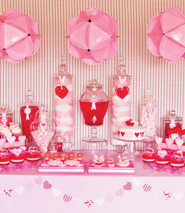 V Day: Valentine'S Day, Valentines Parties, Cotton Candy, Valentines Day Parties, Valentinesday, Parties Ideas, Desserts Tables, Paper Plates, Pink Parties