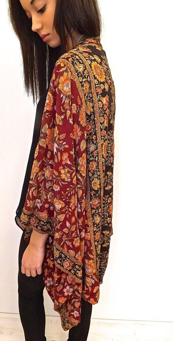 Pure Silk beaded Kimono jacket / Shrug/ cover up by Bibiluxe, £150.00