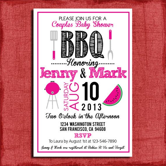bbq couples baby or wedding shower 4x6 or 5x7 invitation