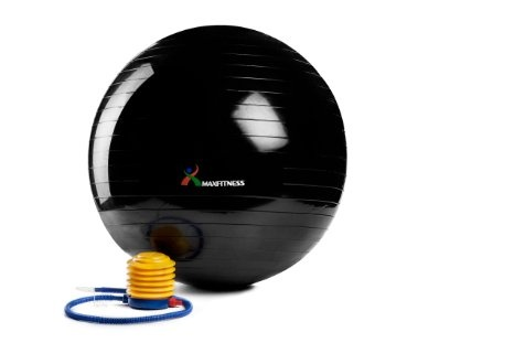 Max Fitness 75cm Exercise Ball with Foot Pump (Black): Health & Personal Care #exercise #fitness #weightloss