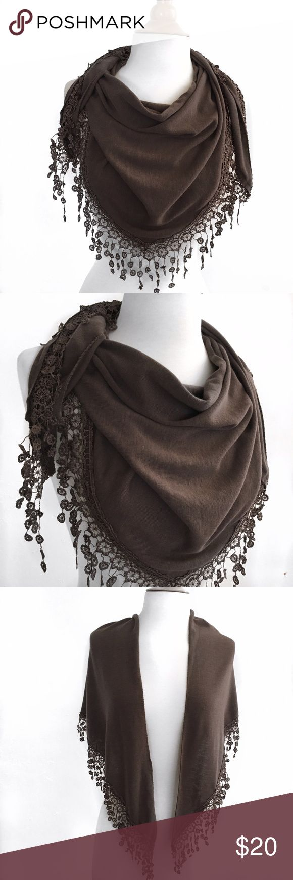 Bandana Lace Scarf Triangle cut  Lace around hem Taupe  Made in Italy  70% Cotton 30% Silk  Size Medium   Condition: No stains, wear or tear.   ​☑️​No Pets  ​☑️​Non-Smoking home  ​☑️​Every item steamed throughly before shipped!  ​💌​ Ships from Santa Monica, CA  ​🗝​Follow me on Instagram! @koukil1908 ask to have a video of the item ​✌️ Accessories Scarves & Wraps