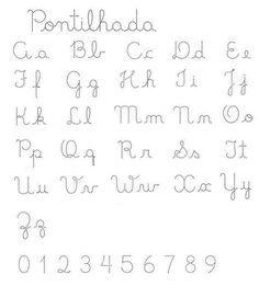 Coisas de Prô´s: Alfabeto pontilhado e numerais pontilhados - exercícios de Caligrafia