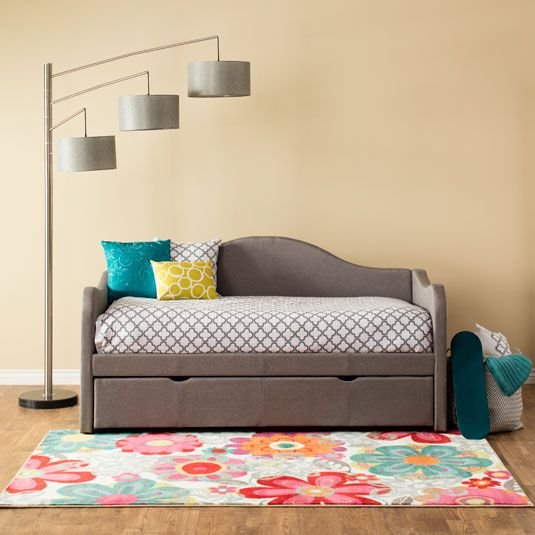 The simple look of the Blossom daybed will forever be in style with its gracefully shaped arched headboard and side panels. It comes complete with a trundle perfect whether you choose to use it in a child's bedroom or need it as a guest bed in your home office. This marvelously modern solution is...