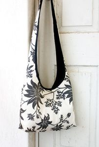 """Sling Bag-FLANNEL FLOWER IN CHARCOAL from """"4 leaf clover"""" - Australian designs for textiles, wall art and homewares. You can also find her at the Newcastle Olive Tree Markets."""