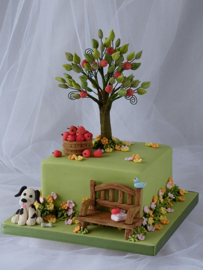 this cake started out because of my love for the tree featured in hillside with fondant treegarden birthday