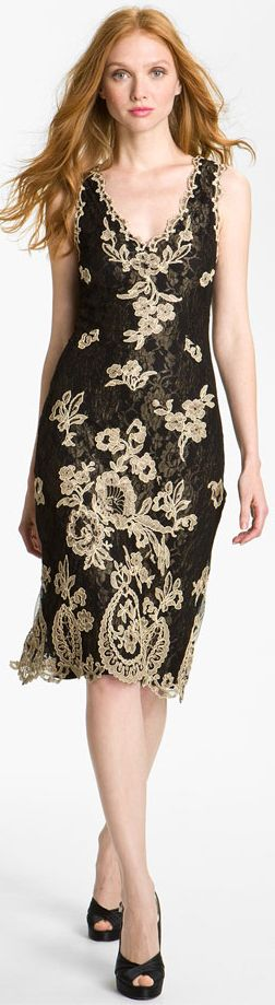 Kay Celine V Neck Embroidered Mesh Sheath Dress | BuyerSelect.com
