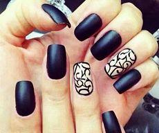 Матовые ногти фото черные и бежевые с рисунком
