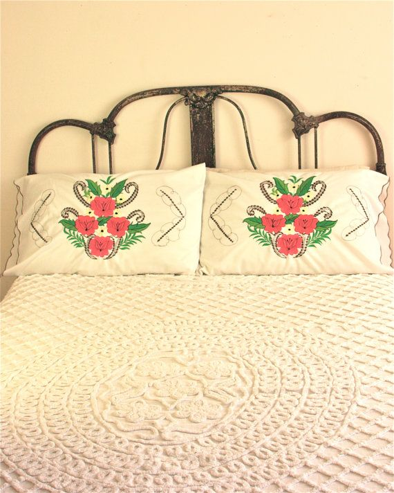pair of vintage mexican embroidered pillow